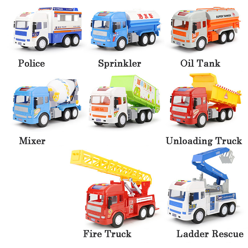 1:16 Pull Back Car Model Toys Boy Light Children Fire Truck/Oil Tank/Police/Engineering Vehicles Cement Mixer 2019 Truck Kids