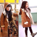 New! 2016 Winter Children's Outwear Girls Deerskin Berber Fleece Coat,Kids Thickening Winter Hooded Overcoat Child Wadded Jacket