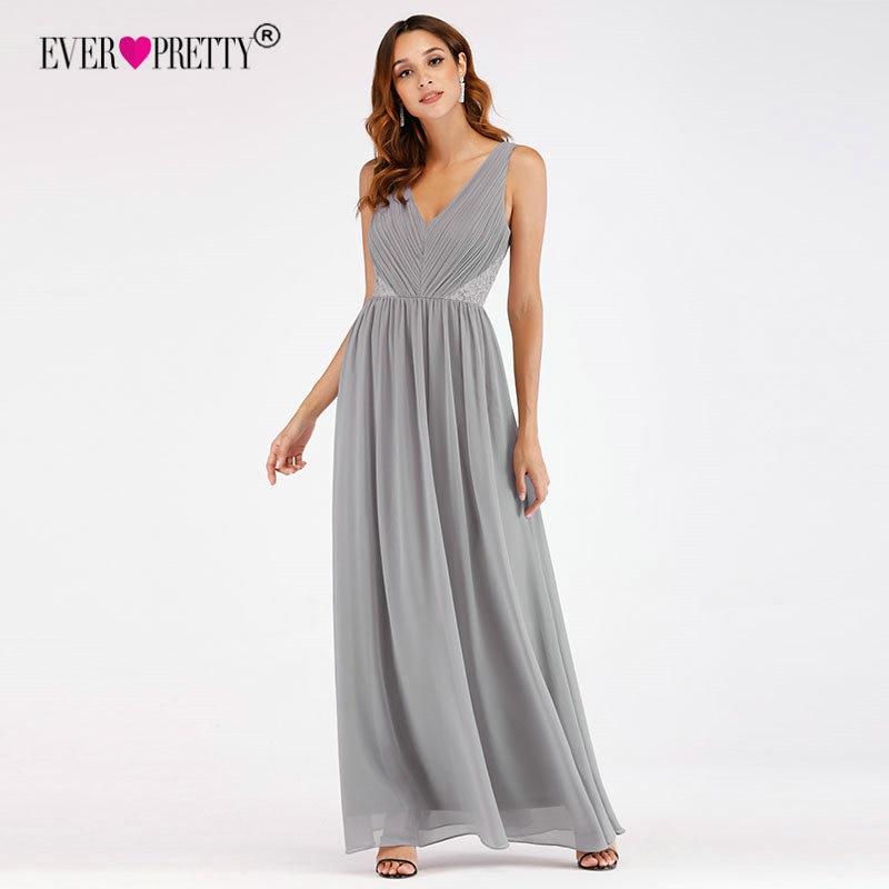 Vestidos De Fiesta Ever Pretty EP07497GY New Elegant A Line V Neck Lace   Prom     Dresses   Long Chiffon Grey Wedding Party Gowns 2018