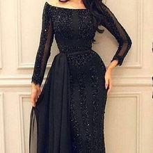 Арабское мусульманское вечернее платье с длинным рукавом с бисером Черное вечернее платье для выпускного вечера на заказ вечернее платье