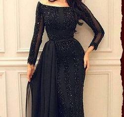 Groothandel Arabische Moslim Avondjurk Lange mouwen Kralen Black Formele Prom Dress Custom Made Avond Party Gown