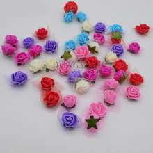 50Pcs DIY Mini PE Foam Rose Flower Head With leaf Simulation Rose Flowers Handmade Wedding Decoration bouquet Accessories 8Z