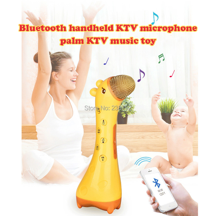 Lovely Giraffe Children Bluetooth handheld KTV microphone singing sound wireless bluetooth transmission educational music toys