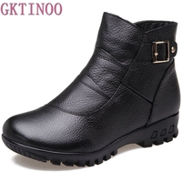 2017 Fashion Winter Boots Women Genuine Leather Flat Ankle Warm Boots Woman Snow Comfortable Plus Size
