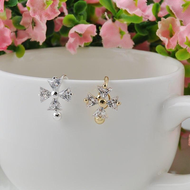 Nice Single Crystal Flower Gold Silver Ear Cuff  Earring Wrap Clip Earrings Free shipping