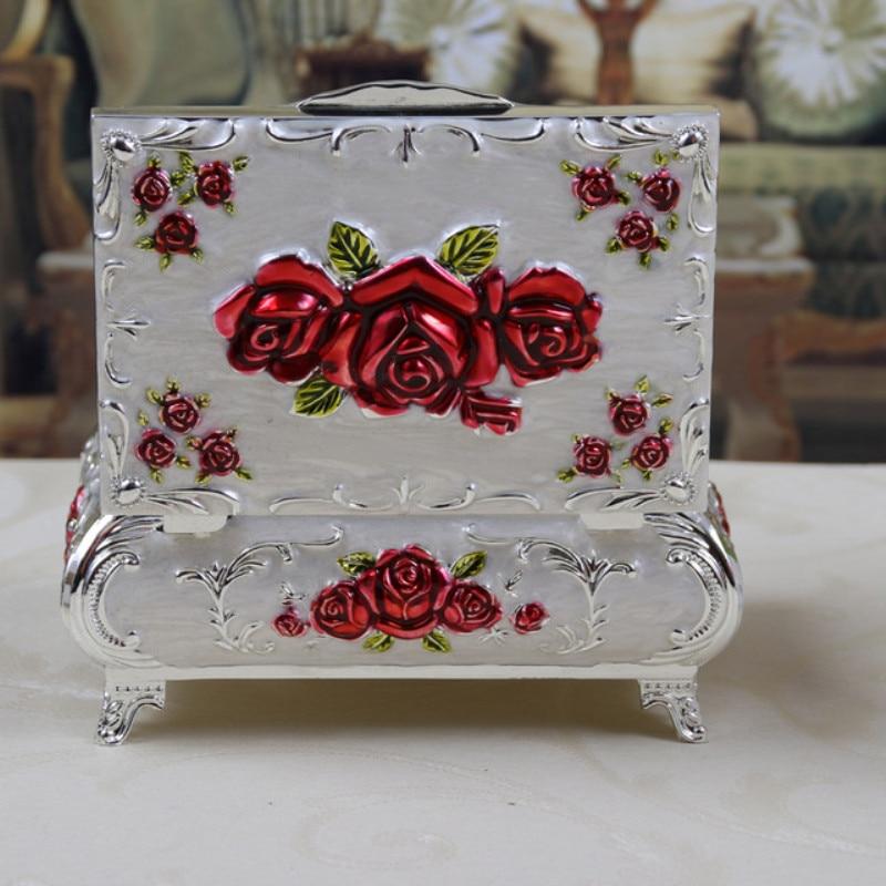 European Rose Carved Jewelry Box Wedding Gift Rectangular Storage Box Jewelry Chest Jewelry Storage Box Home Decoration