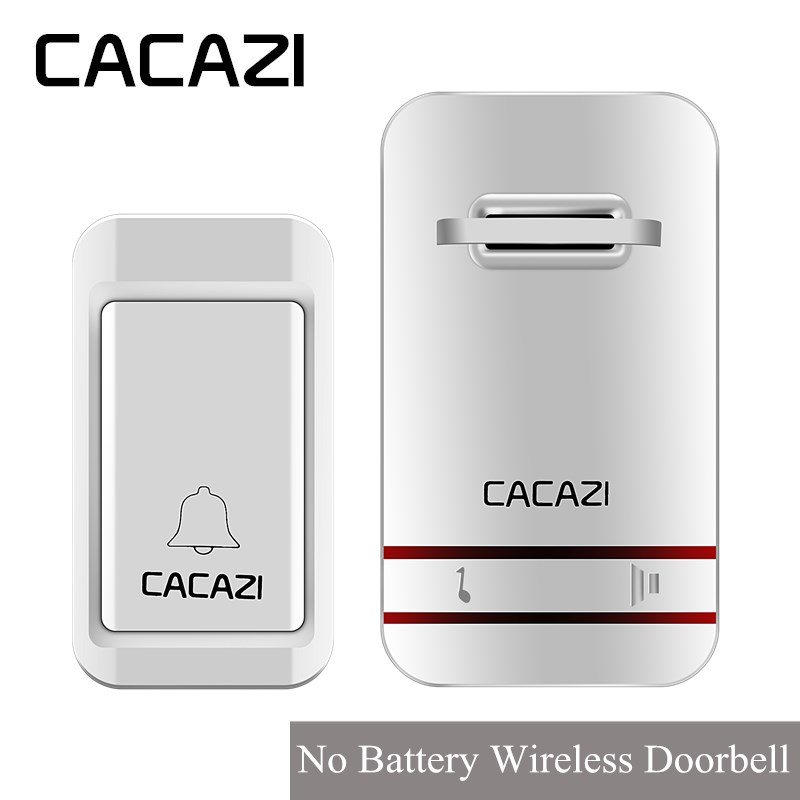 CACAZI Smart Wireless Self-powered No Batteries Waterproof Doorbell EU/US/UK/AU Plug LED 100-220V 120m Remote 38 Songs