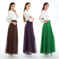 Lady Ball Gown Lace up Elastic Waist Solid Green Pink Red Blue Mesh Skirt