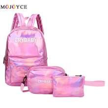 d267396a867d компл. уличный стиль буквы для женщин лазерная голограмма кожа рюкзаки  подростков студентов молния школьный рюкзак через п.