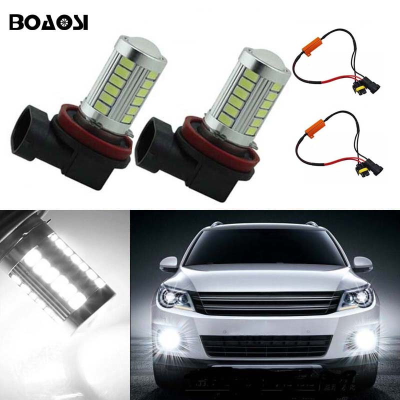 BOAOSI 2x H11 H8 LED canbus Bulbs Reflector Mirror Design For Fog Lights No Error For Audi A3 A4 A5 S5 A6 Q5 Q7 TT boaosi 1x 9006 hb4 car canbus bulbs reflector mirror design fog lights no error for vw golf 6 mk6 scirocco t5 transporter