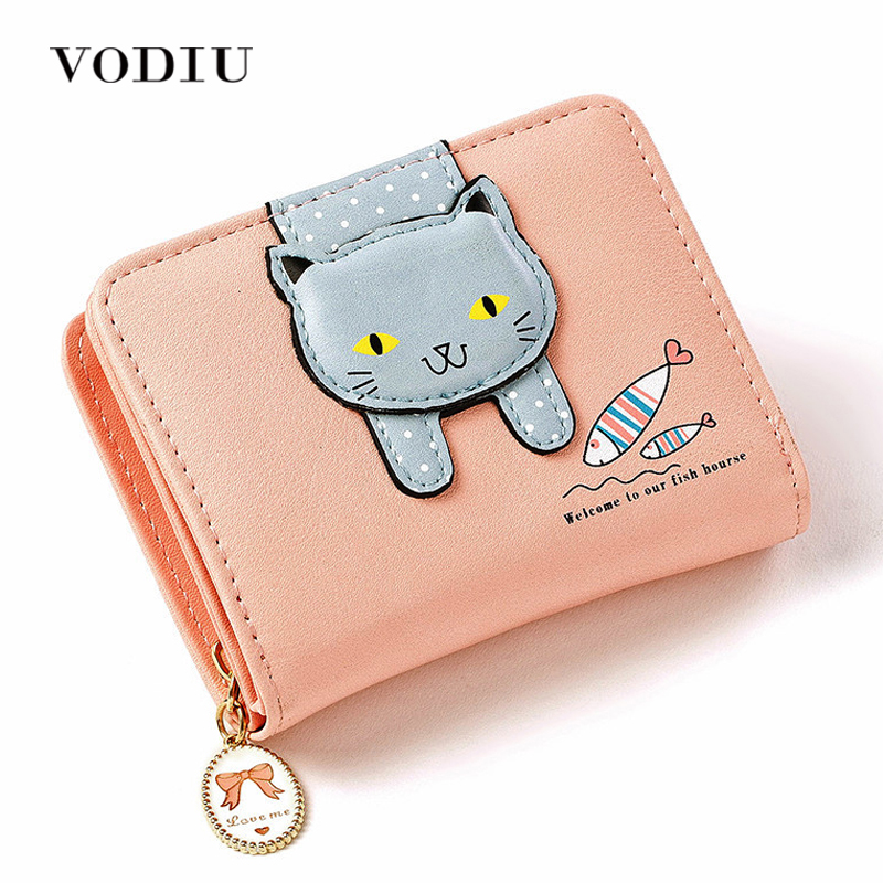 2017 Korean Harajuku Cute Anime Cat Zipper Chain Leather Women Slim Mini Wallet Girl Small Purse Female Coin Credit Card Holder anime my neighbour totoro cute card bag wallet holder zipper kawaii gray hanging