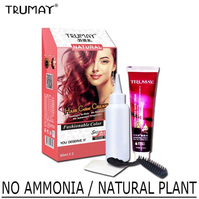 Trumay Plant Aroma No Ammonia Type Hair Dye Cream Permanent Constant
