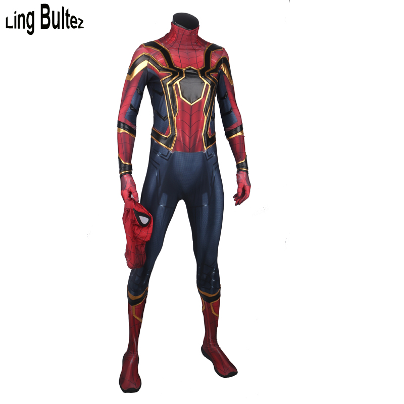 Ling Bultez High Quality Avengers Infinity War Iron Spider Cosplay Costume Iron Spider Spandex Suit Tom