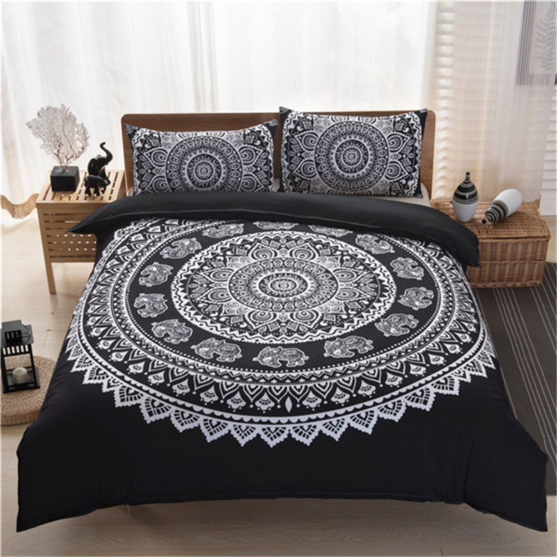 purple blue black bedspread set queen king size boho bedding sets bohemian polyester cotton bed sheet