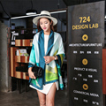 2016 Mujeres Bufanda de Marca Chales Bufandas de Rayas Impresión Digital de Alta Calidad 100% Envuelve Foulard de Seda