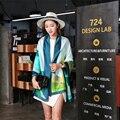 2016 Mulheres Marca Cachecol Xales Cachecóis Listrado Impressão Digital de Alta Qualidade 100% Wraps de Seda Foulard