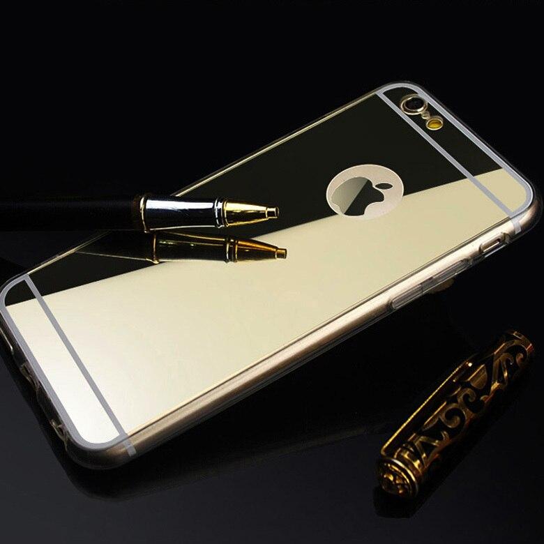 Miroir Fundas Coque Pour Apple iPhone 6 5S Pour iPhone SE cas Marque De Luxe En Aluminium Clair Silicon Cover Pour iPhone 6 Plus