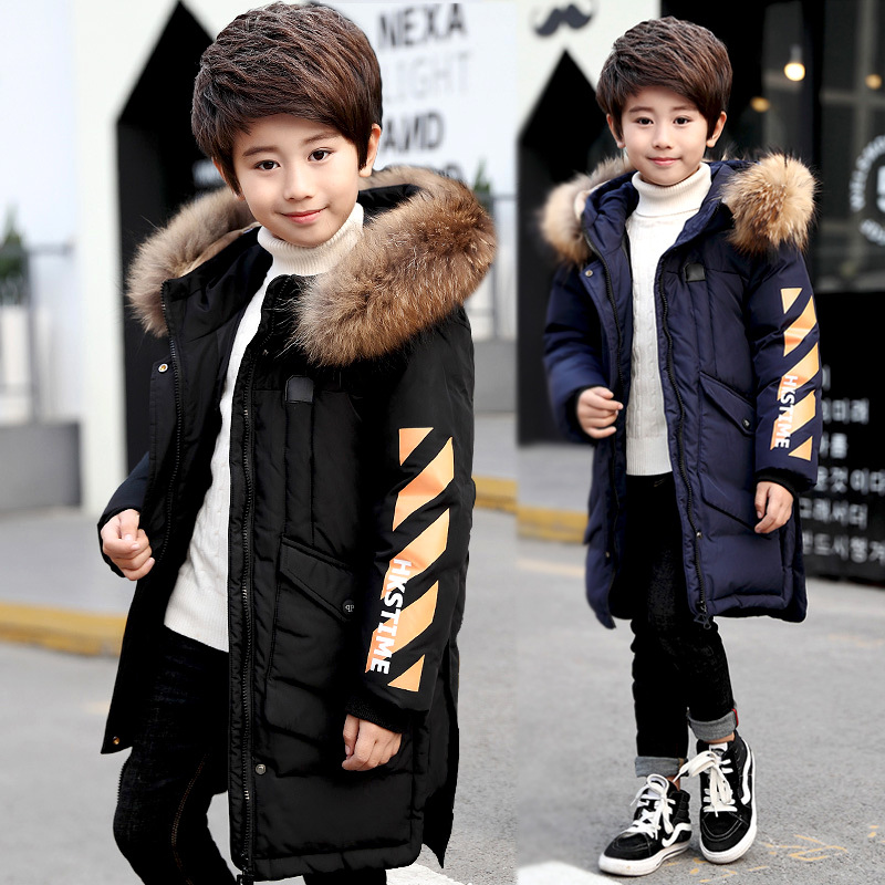Winter Jacket For Boys Fur Hooded Boys Parka Warm Kids Outerwear Long Autumn Teen Clothing For Boys 6 8 12 Years Christmas Gift winter girls long denim jacket plus parka teen girl fur collar 2018 hooded coat autumn kids thicken outerwear 4 6 8 10 12 years