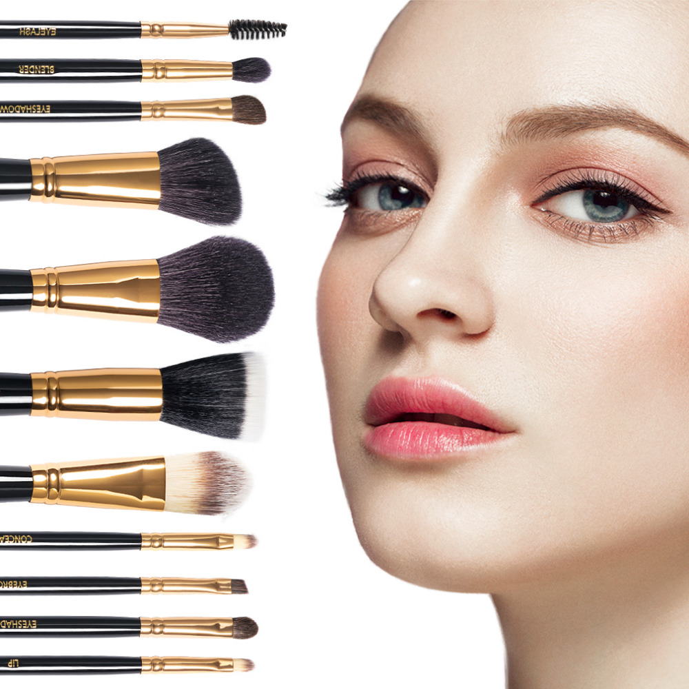 Top Quality Make Up Brushes 11pcs Brush Sets Professional Nature Bristle Brushes Beauty Essentials Makeup Brushes with Gift Bag temptalia make up brushes 8pcs brush set professional nature bristle brushes beauty essentials makeup brushes copper top quali