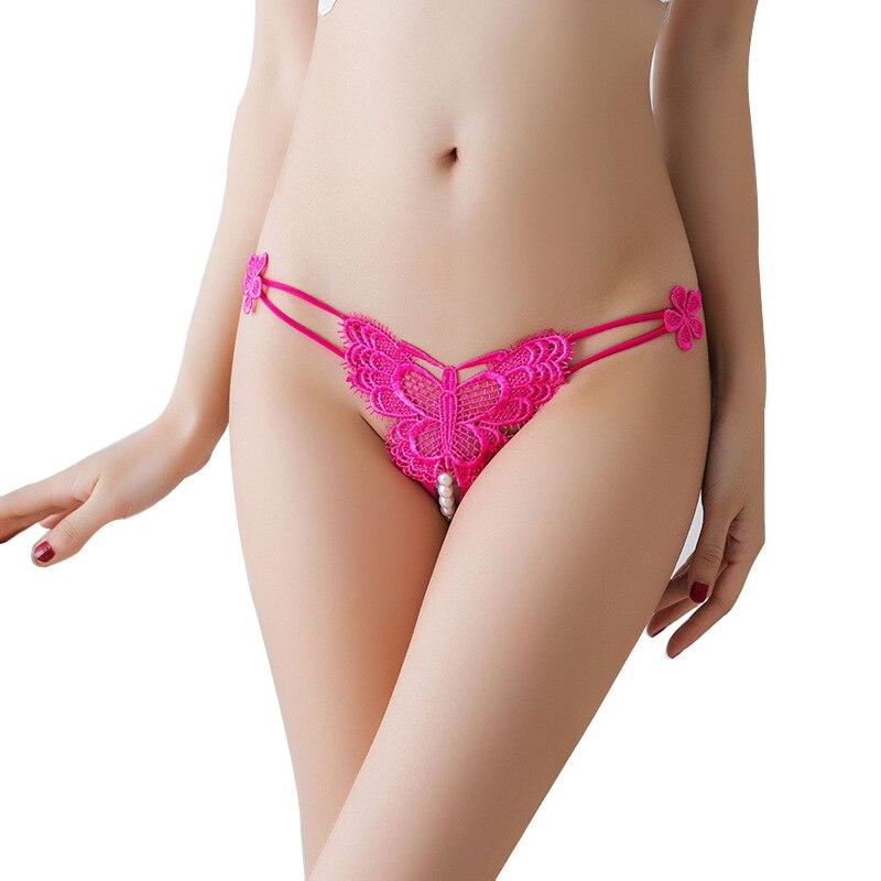 a7d4e7f90a9e Lencería Sexy bragas de entrepierna abierta porno ropa interior  transparente crotchless ropa sexual Tanga con perlas
