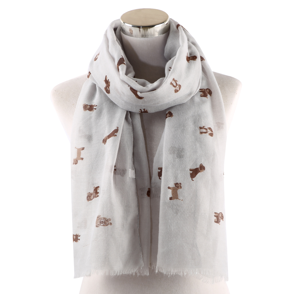 FOXMOTHER Dog Pattern Scarf Lightweight Sky Blue White Pink Color Dog Print Scarves for Dog Lover Mom Women Shawls Foulard in Women 39 s Scarves from Apparel Accessories