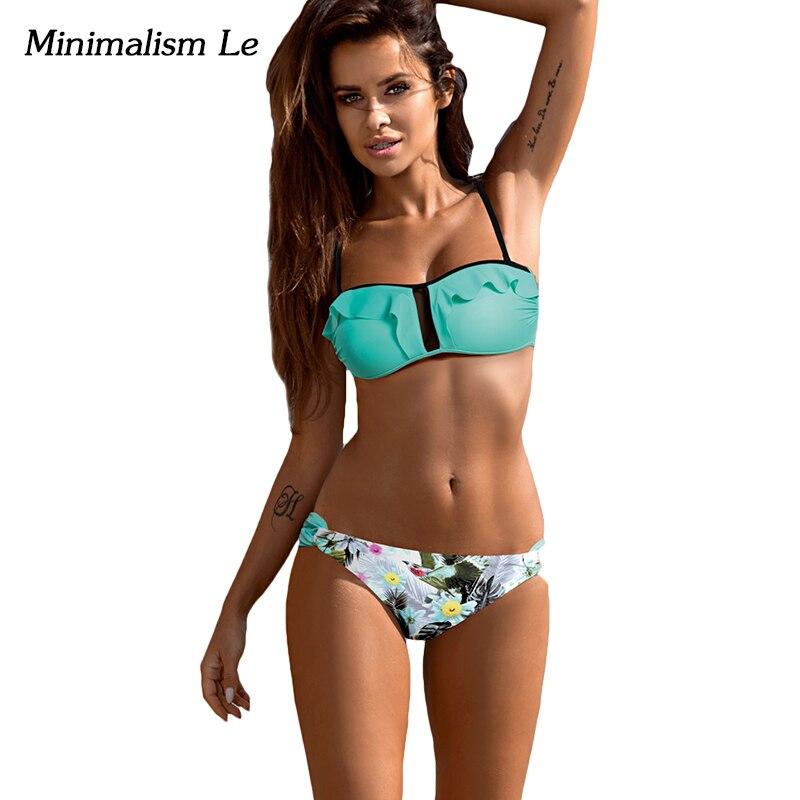 Minimalism Le Sexy Flounced Bikini 2017 Print Bathing Suits Women Swimwear Bandage Biquini Swimsuit Monokini Bikini Set BK793 minimalism le bikini 2017 femal biquini halter bandage sexy swimsuit print patchwork women swimwear monokini bathing suit bk757