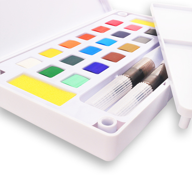 12/18/24/36 Colors Portable Travel Solid Pigment Watercolor Paints Set With Water Color Brush Pen For Painting Art Supplies 1