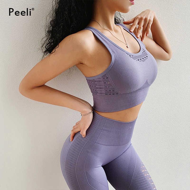 Peeli 2 uds conjunto de Yoga Jogging traje de gimnasio Fitness ropa femenina sin costura Leggings + Sujetador deportivo entrenamiento deportes trajes ropa deportiva de mujer