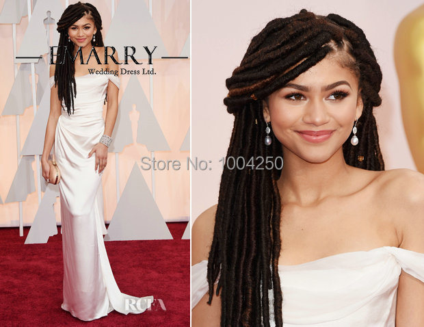 Zendaya Coleman Oscars Dresses 2016 Sexy Boat Neckline Short Sleeves Long  White Evening Dress Satin Formal Party Dress 96ac566eae3a