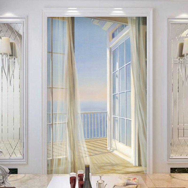 Custom Wallpaper 3D Expand Space Balcony Scenery Modern Creative Art Wall Mural Entrance Corridor Background Photo Wallpaper custom 3d stereoscopic large mural entrance corridor landscape wallpaper background fabric wall paper castle falls expand space