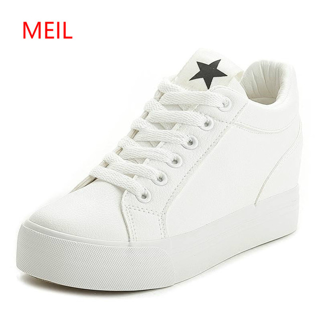 10e5e58c4a5 Platform Wedge Casual Shoes Women High Heels Black White Height Increasing  Sneakers Women Shoes Female Chaussure Size 35-40