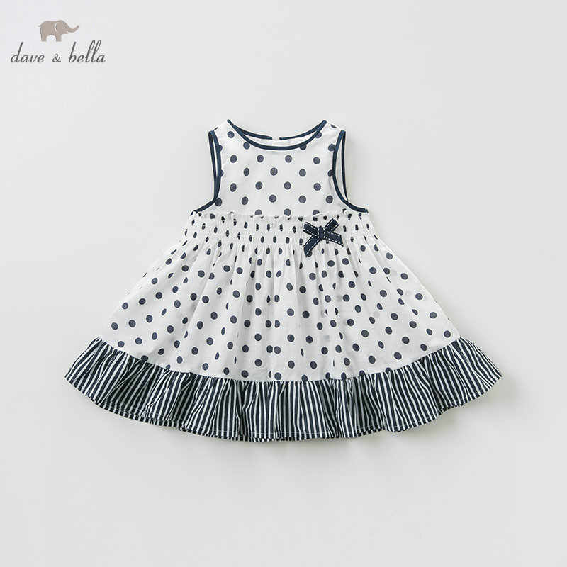 DBM10564 DAVE BELLA summer baby girls lolita dots print dress infant toddler birthday wedding dresses children boutique dress