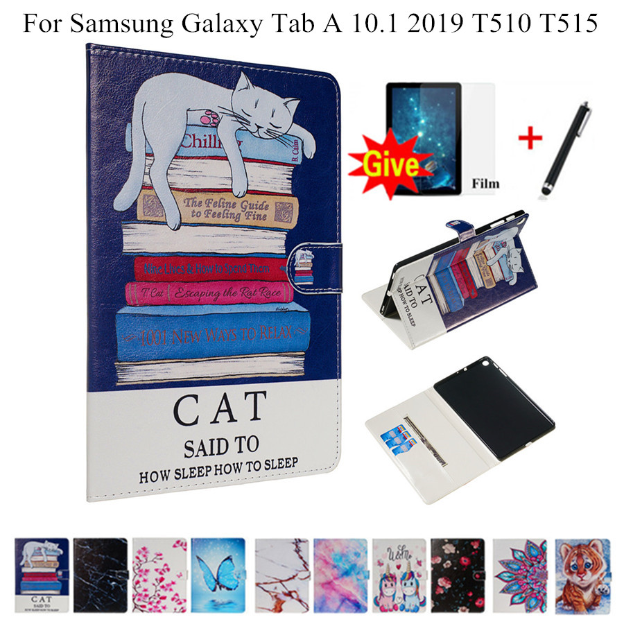 Case For Samsung Galaxy Tab A 10.1 2019 T510 T515 SM-T510 Cover Funda Tablet PU Leather Case Cat Pattern Stand Shell + Film+Pen