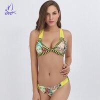 Hoofd Afdrukken Gestreepte Vrouwen Badpak Sexy Braziliaanse String Bikini Set Haak Driehoek Badmode Vrouwelijke Strand Dragen Badpak