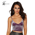 CHRLEISURE S-L 2 Colors Women Sexy V-Neck Solid Crop Top Fashion Velvet Spaghetti Strap Tops Cropped Women