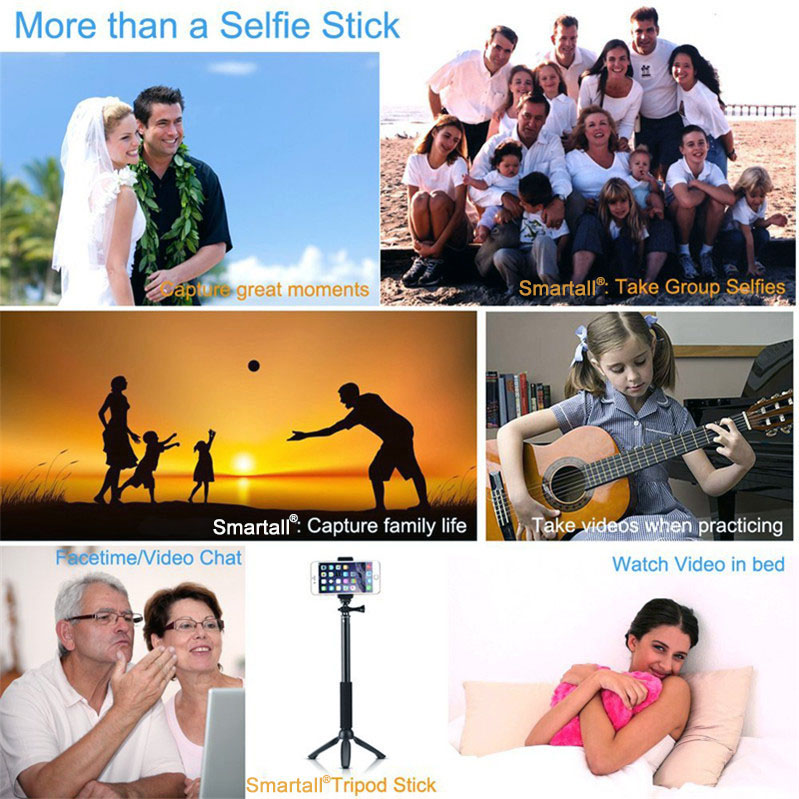Bluetooth Selfie Stick GoPro Monopod with Tripod Stand for iPhone and Android (Hot Pink) (2)(1)