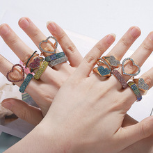 2019 Gold Color Multi Heart Punk Statement Rings Fashion Party Wedding Crystal Ring Jewelry