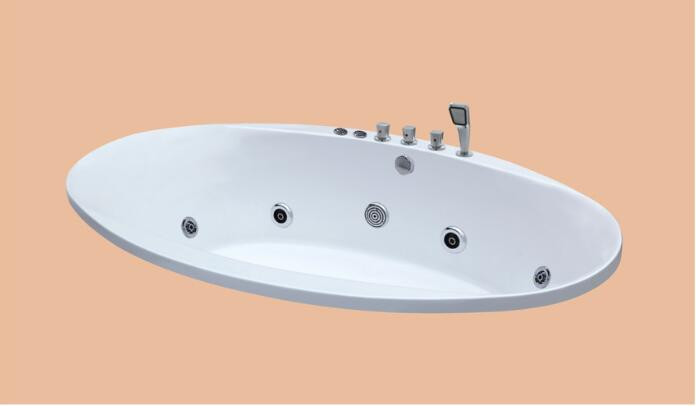 2230mm Oval Drop-in Fiberglass whirlpool Bathtub Acrylic Hydromassage Embedded Surfing Tub NS6019