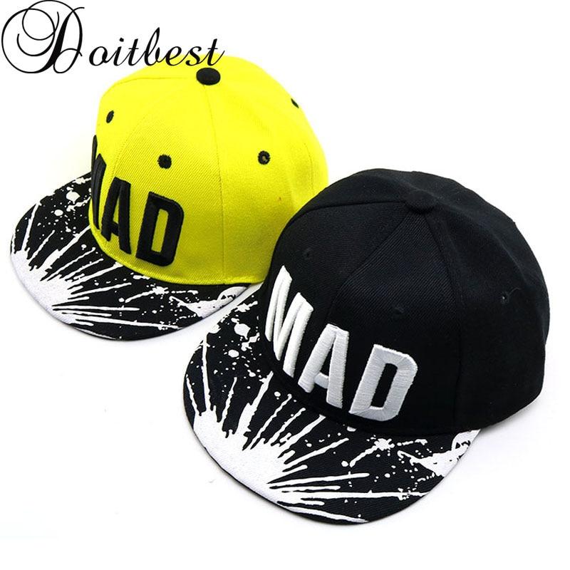 Doitbest 2-8 Years Summer Children Baseball Cap Boys Girls MAD Letters Autumn Snapback Adjustable Kids Hip Hop Cap Sun Hat