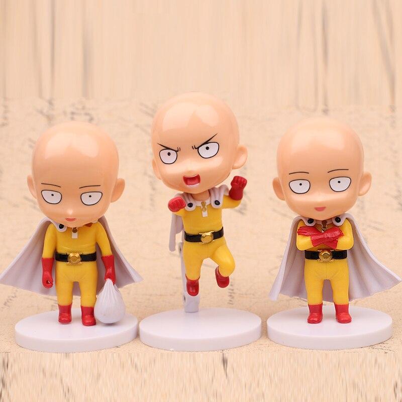 NEW hot 11cm 3pcs/set ONE PUNCH-MAN ONE PUNCH MAN Saitama Nendoroid Mini Action figure toys collection Christmas