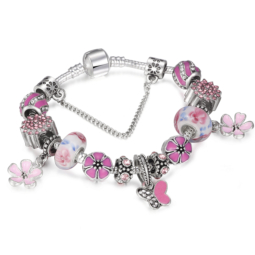 SPINNER DIY Summer Style Butterfly Flower Charm Bracelet Women Glass Beads Pandora Bracelet Jewelry