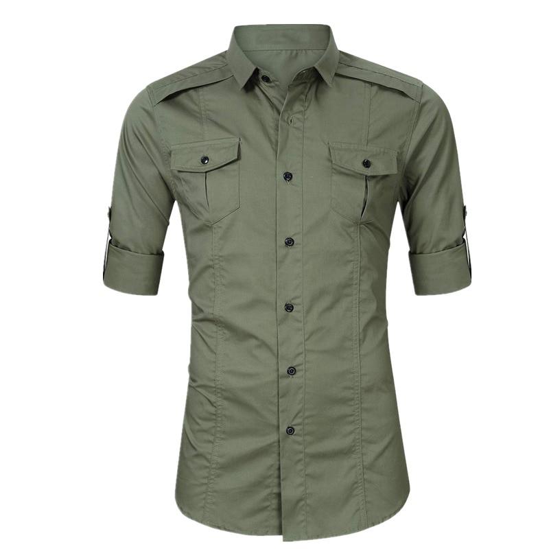 Lapel Tactical Shirt Big Size Mens Cotton Military Shirts Tops Male Outdoor Trekking Fishing Training Long Sleeve Army Shirt