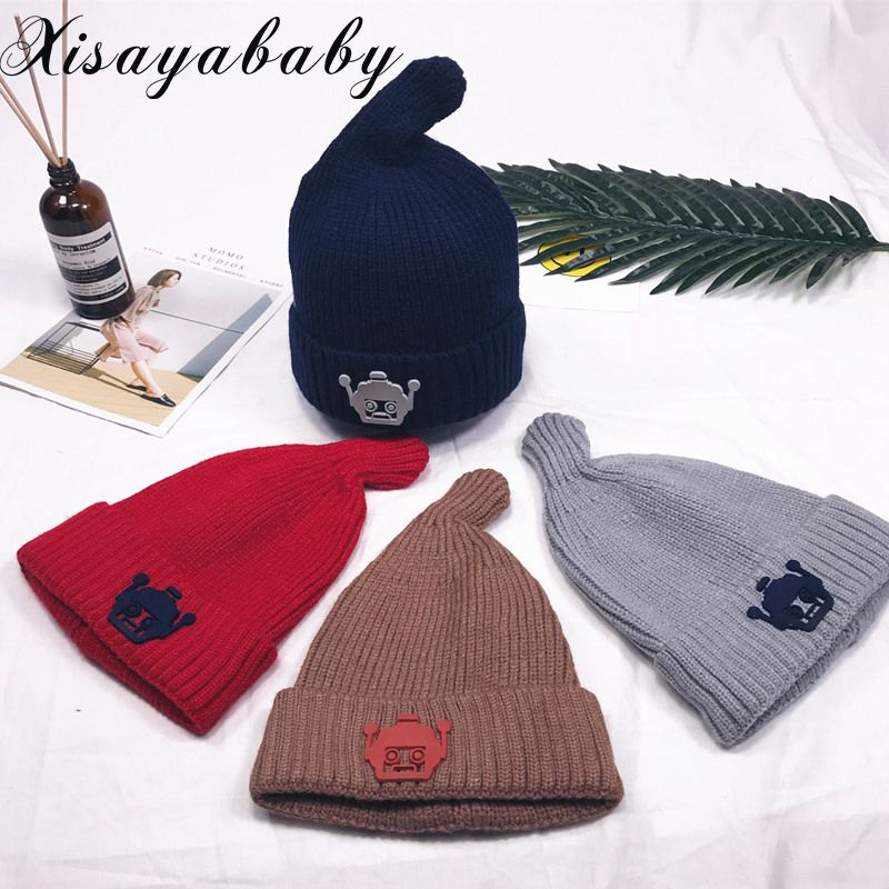 XISAYABABY cute Knit Cotton Newborn Baby Hat warm Pacifier style Children Skullies Beanies for boy girl 1-3years old