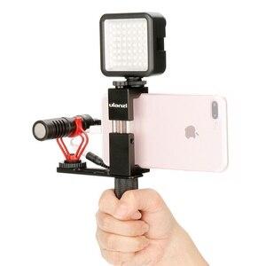 Image 2 - Konfiguracja Vlog kompaktowy mikrofon aparatu W uchwycie telefonu uchwyt wideo Rig Smartphone Mic dla iPhone 11 Huawei Canon Nikon DSLR aparaty