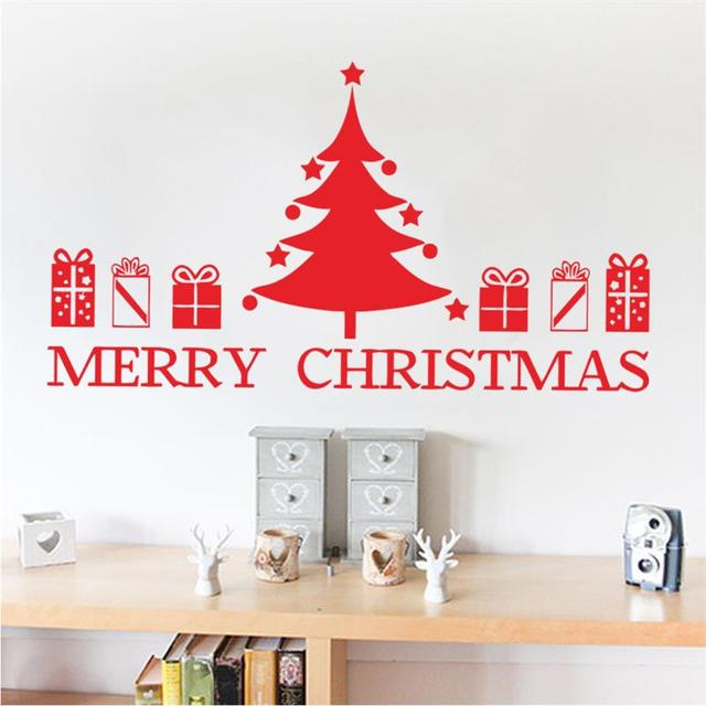 Merry Christmas Tree Wall Stickers Santa Claus Gifts Box Wall Decals ...