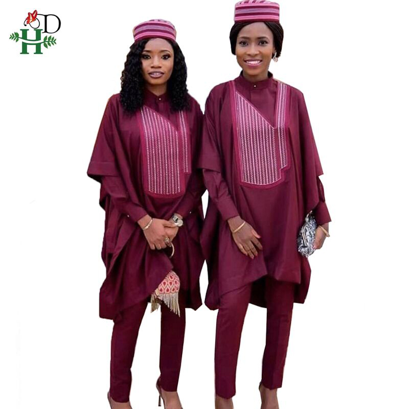H&D No Cap Women Clothes 2019 Dashiki African Dresses For Women Tops Shirt Pant 3 Pieces Set Bazin Outfit Vetement Femme HM3232