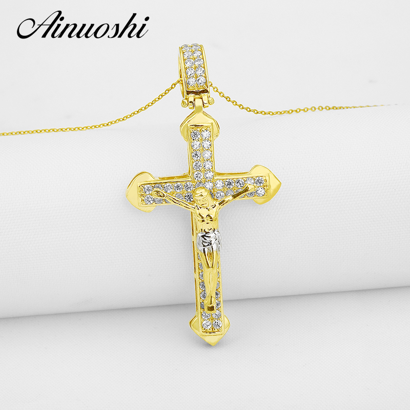 AINUOSHI 10K Solid Yellow Gold Christian Cross Pendant Sona Diamond Christian Fine Jewelry Jesus Crucifix Pendant 4.4g PendantAINUOSHI 10K Solid Yellow Gold Christian Cross Pendant Sona Diamond Christian Fine Jewelry Jesus Crucifix Pendant 4.4g Pendant