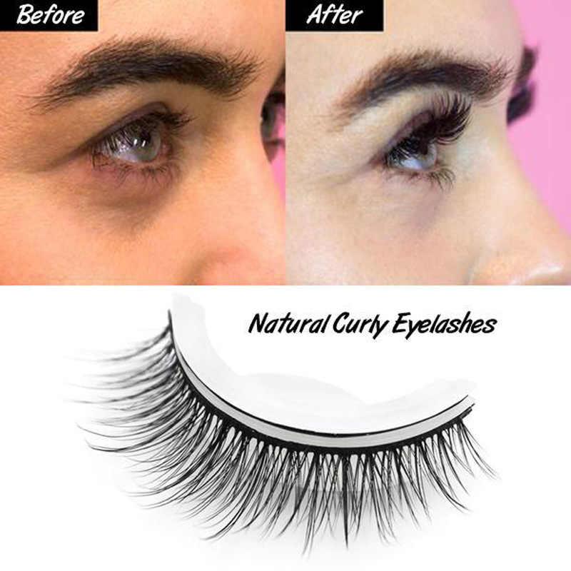 f2c3cd60bd9 3D False Eyelashes Human Hair Extension Reusable Self-Adhesive Natural  Curly Eyelashes Self Adhesive Eye