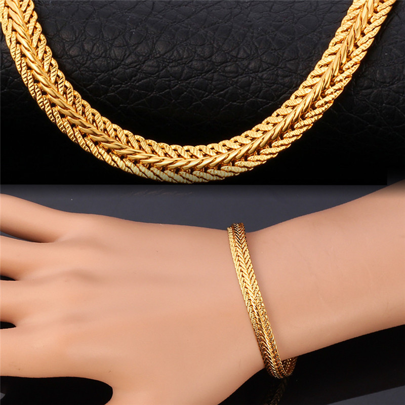 Long Foxtail Chain Bracelet Necklace Set 6mm Wholesale Yellow Gold