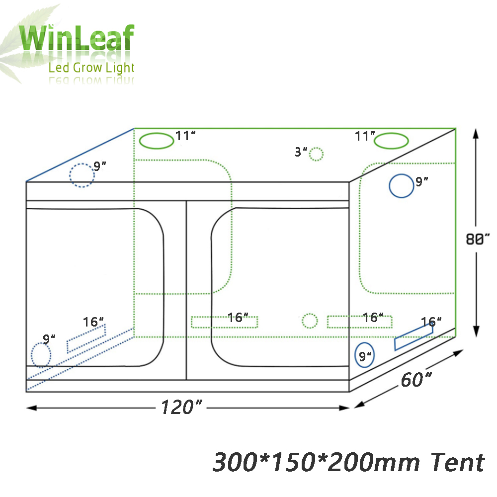 Grow Tent Indoor Hydroponic Greenhouse 300*150*200 Mm Room Box Plant Growing, Reflective Mylar Non Toxic Garden Greenhouses
